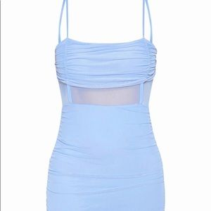 Nwt prettylittlething blue ruched dress